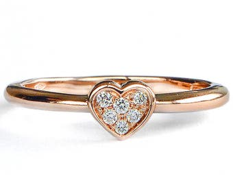 Heart diamonds 18k rose gold engagement ring, promise ring for her, delicate engagement ring, stackable band, dainty gold ring