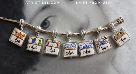 "Avó  Vavo Portugal Antique Azulejo Tile SiLVER Plated Pendant for EuROPEAN ""PaN.."" Brand Bracelet   Choose One - Gift Box MADE TO ORDER"