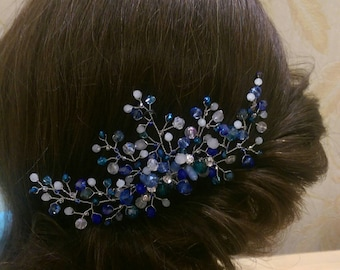 Bridal haircomb.  Cristals comb. Wedding hair comb. Bridal Headpiece. Blue bridal hair comb.