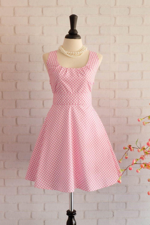 Rosa Kleid Rosa karierten Kleid Rosa Prom Kleid Pink Party