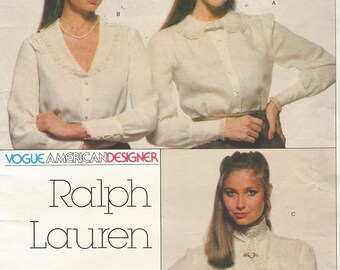 1980s Ralph Lauren Womens Set of Blouses Embroidered Collars Lace Jabot Vogue Sewing Pattern 2363 Size 14 Bust 36 FF Vogue American Designer