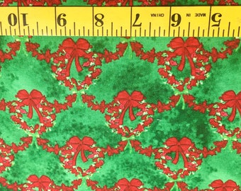 Studio E Red Wreaths on Green 1659-66 Christmas Cotton Fabric By the Yard