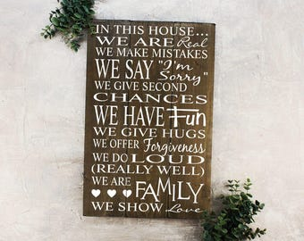 FREE SHIPPING Family Rules Sign Wood In This House Sign
