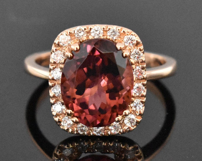 14K Rose Gold Pink Tourmaline and Diamond Ring | Engagement Ring | Wedding RIng | Statement RIng | Handmade Fine Jewelry | Diamond halo