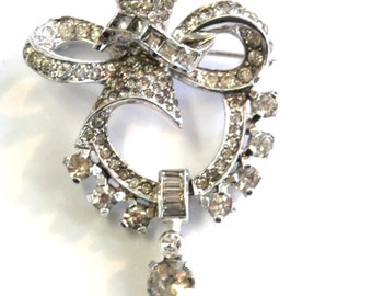 Vintage Mazer Clear Rhinestone Bow Pin and Pendant
