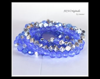Blue and silver Plastic Bead Stretch Bracelet Set of 6 Stacking Bracelets Handmade Kids, Teens, Womens Bracelets 7 inch - Frozen Theme