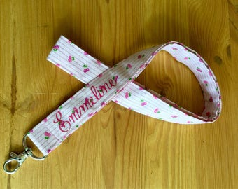 Neck badge holder or key chain personalized cotton