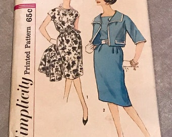 Simplicity Vintage 1960s Sewing Pattern / Misses' & Women's Classic Dress and Jacket / Size 14, Bust 34 / 3887