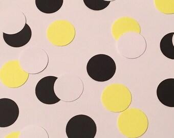 225 Black White Yellow Confetti Birthday Confetti Shower Confetti Party Polka Dot Confetti Black Confetti White Confetti Yellow Confetti