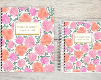 Custom Wedding Planner, Wedding Book, Bridal Organizer, Great Engagement Gift, Wedding Planning, Custom Engagement Gift, Pink Watercolor