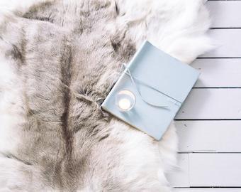Reindeer Hide Throw & Rug - Rare Light Grey Gray - The Erva