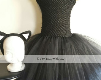 Black cat tutu costume, party dress with tail and headband.