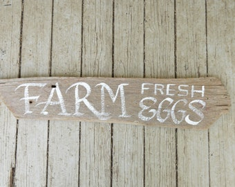 Farm Fresh Eggs Sign - Hand Painted Calligraphy on Reclaimed Barn Wood