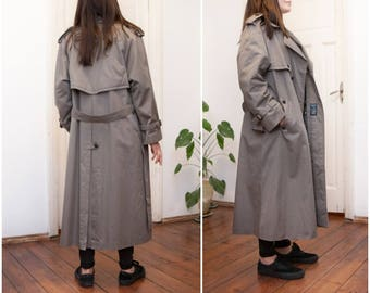 Vintage 80s Trench Coat Oversize Rain Coat Womens Medium Double Breasted Coat Mens Small Gray Belted Trench Removable Lining Long Grey Coat