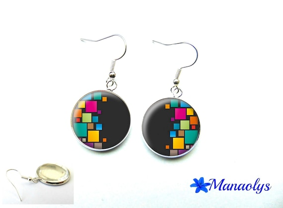 Colorful earrings, multicolored patterns, 3260 glass cabochons