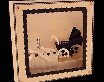 3D SVG, PDF Baby Christening Box Card