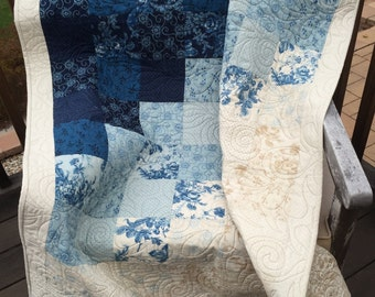 Modern Quilt- in Blue and Beige - Lap Quilt, Child Youth Quilt, Crib Quilt