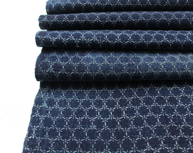 Japanese Katazome Textile. Antique Stenciled Cotton Fabric. Geometric Hexagon Design (Ref: 1909)