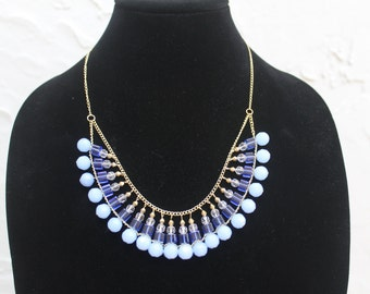 20% OFF! Blue & Gold Beaded Bib Statement Necklace