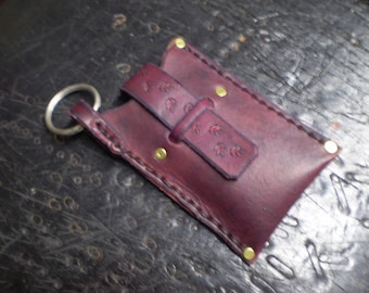 Small Violet Leather Case With Key Ring