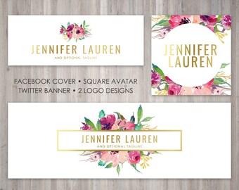 Premade Blog Branding paquet - Logo - Avatar - housse de Facebook - Twitter bannière - correspondant à la forme de Jennifer Lauren modèle