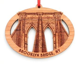 Brooklyn Bridge Christmas Ornament - Detailed New York City Brooklyn Bridge Oval Ornament