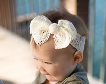 Ivory Lace Head wrap } Cream Headband, baby toddler girl turban hair bow