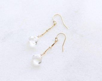 Simple drop earrings with clear glass beads, long, 14k gold filled, wedding jewelry, minimal earrings
