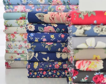 Canvas Cotton Fabric Shabby Chic Flower Canvas Heavy Upholstery Floral Fabric-  1/2 yard