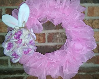Easter Wreath - Pink with Bunny Ears