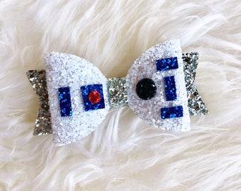 R2D2 Inspired Star Wars Hair Bow, r2d2 hair clip, r2d2 bow, r2d2 headband