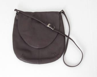 Vintage 1980's Halston Lifestyle brown leather cross body messenger bag
