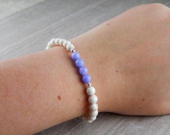 Sterling Silver Plated Blue Lace Agate Bracelet | Sea Turtle Bracelet | Charitable Cause | Beach Bracelet | For Her | Pastel | Elegant