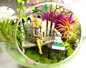 "Spring Fairy Garden Terrarium Kit ~ 8"" Air Plant Terrarium Kit ~ Song Bird Tree ~ Miniature Fairy ~ Bench ~ Gladiolas ~ Miniature Animals"