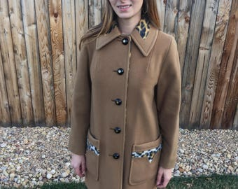 Vintage Penguin Fashions Coat Tan with Leopard Print Lining and Accents