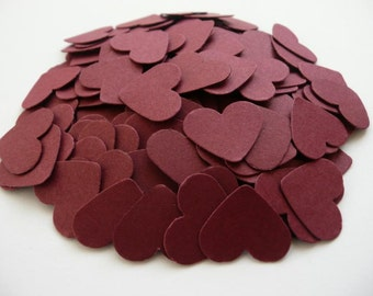 Wedding confetti hearts - burgundy - Paper hearts - 200 die cut hearts - paper heart confetti - weddings