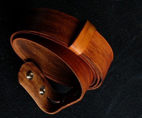 "Hand Dyed Wood Grain Belt with Snaps Orange Rust Brown 1.5"" Wide Leather Belt for Blue Jean ~ Unisex Interchangeable Belt Custom Cut For You"
