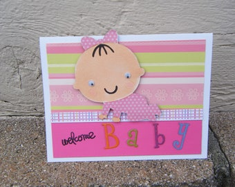 Welcome Baby,Baby Girl Card,Baby Shower Card,Card for new parent,Pink Baby Card,Dimensional Baby Card,Blank Baby Card,Blank Baby shower Card
