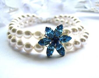 Vintage Blue Rhinestone Flower Bracelet, Double Strand White Freshwater Pearl Bracelet, Sterling Silver, On SALE, Ready To Ship, Gift Box