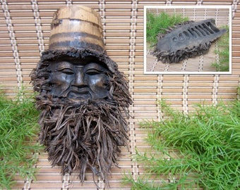 Bamboo Face Carving Roots Beard Longevity Symbol Old Friendly Bearded Man Hand Carved Asian Chinese Wood Mask Vintage FREE SHIPPING (700)
