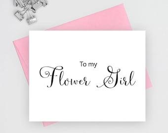 To my flower girl card, wedding stationery, wedding stationary, folded note cards, folded wedding cards, wedding note cards, wedding card