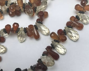 Mod Modern Gemstones  Beaded Necklace . Vintage  Jewelry