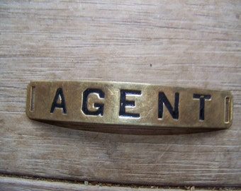 Vintage Brass Ticket Agent Name Tag