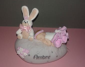 TO ORDER! Beautiful Nightlight fimo pink baby powder and her Bunny