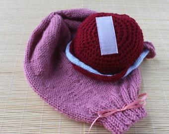 Knitted Uterus with Placenta, Ante-natal Teaching Aid, Pink Uterus & Placenta, Childbirth Education, Anatomical Uterus Model
