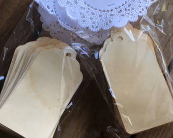 Vintage Tags sold in packs of 50-Blank Gift Tags - Coffee Stained Favor Tags - Wedding Tags - Wish Tree Tags - Hang Tags - Antique Party