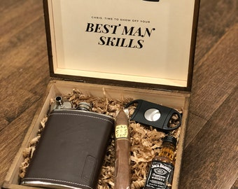 Personalized Groomsmen Gift Box with Flask & Cigar Cutter | Groomsman Gift Box | Unique Gift Set for Groomsmen and Ushers