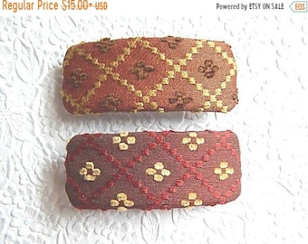 CLEARANCE - Hair barrette, embroidered barrette, triangle print barrette, fabric barrette, hair accessory, fashion accessory