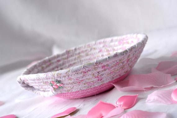 Cute Desk Accessory, Pink Ring Tray, Handmade Pink Makeup Organizer, Itty Bitty Basket, Shabby Chic Key Holder, Shabby Chic Pink Basket