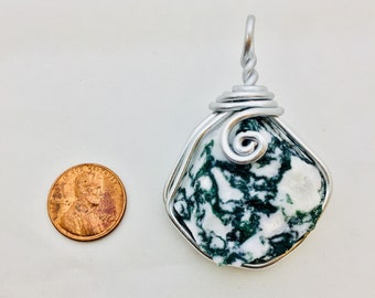 Raw tree agate wire wrap, wire wrapped tree agate, agate jewelry, agate pendant, raw agate necklace, wire wrapped jewelry, raw stone wrap